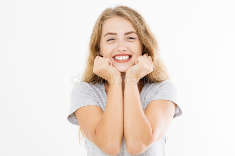 Wow effect. Surprised shocked excited caucasian woman wow face isolated on white background. Young girl in summer t shirt. Copy royalty free stock image