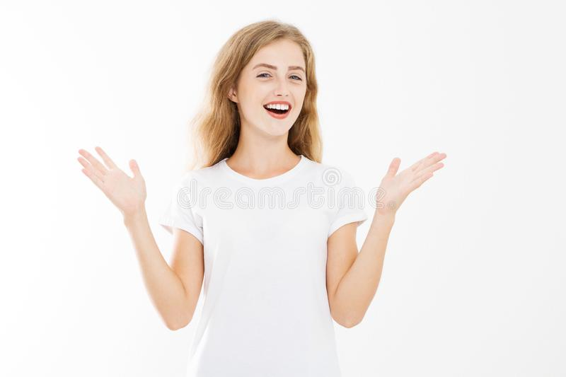 Wow effect. Surprised shocked excited caucasian woman wow face isolated on white background. Young girl in summer t shirt. Copy stock image