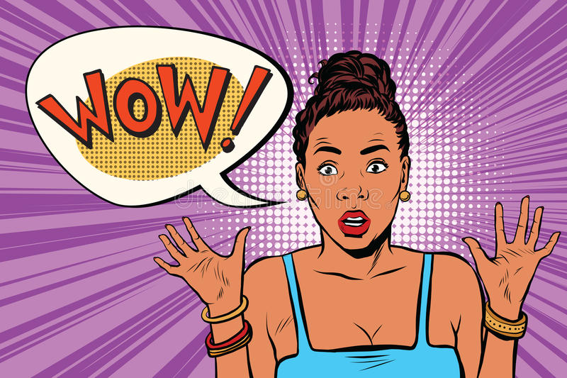 Wow förvånade den härliga kvinnan, afrikansk amerikansvarta människor vektor illustrationer
