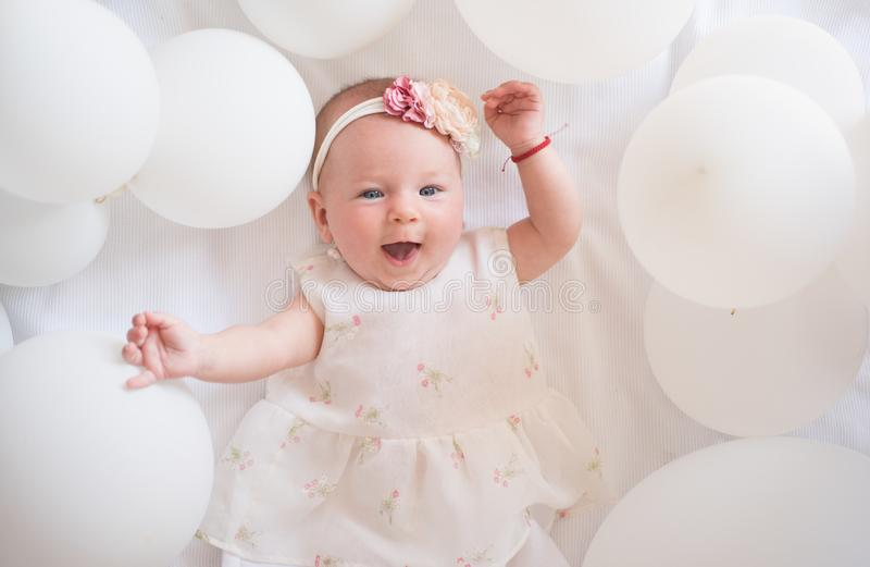 Wow. Family. Child care. Childrens day. Small girl. Happy birthday. Sweet little baby. New life and birth. Portrait of stock photography