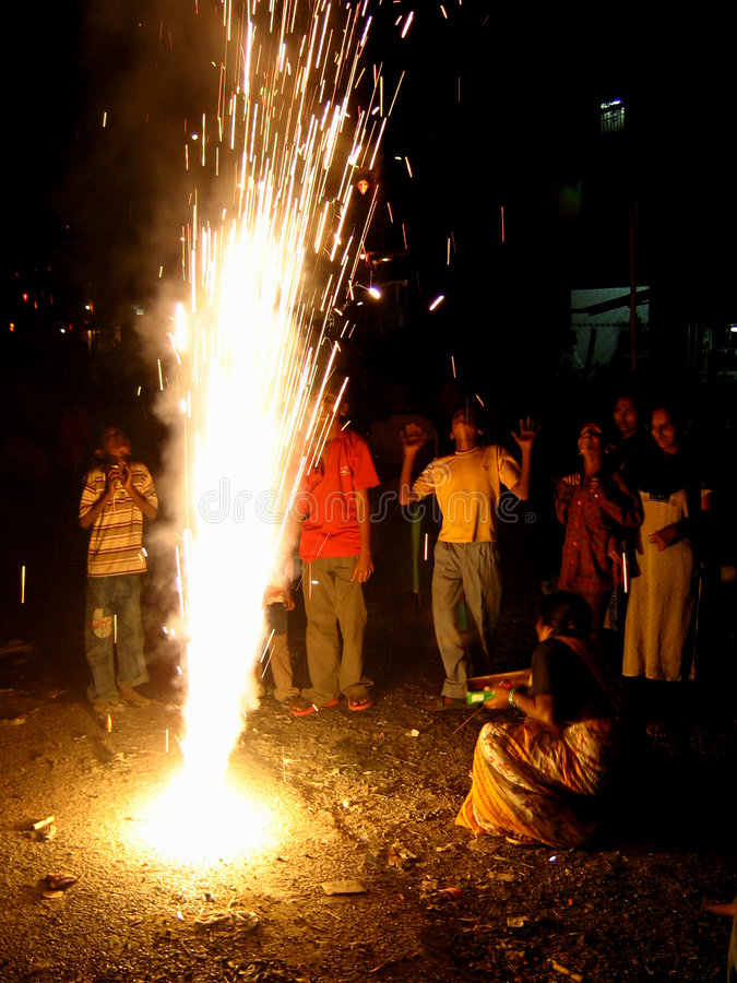 Wow Fireworks!. Street children enjoy the display of fireworks on the festival of Diwali in India stock photography