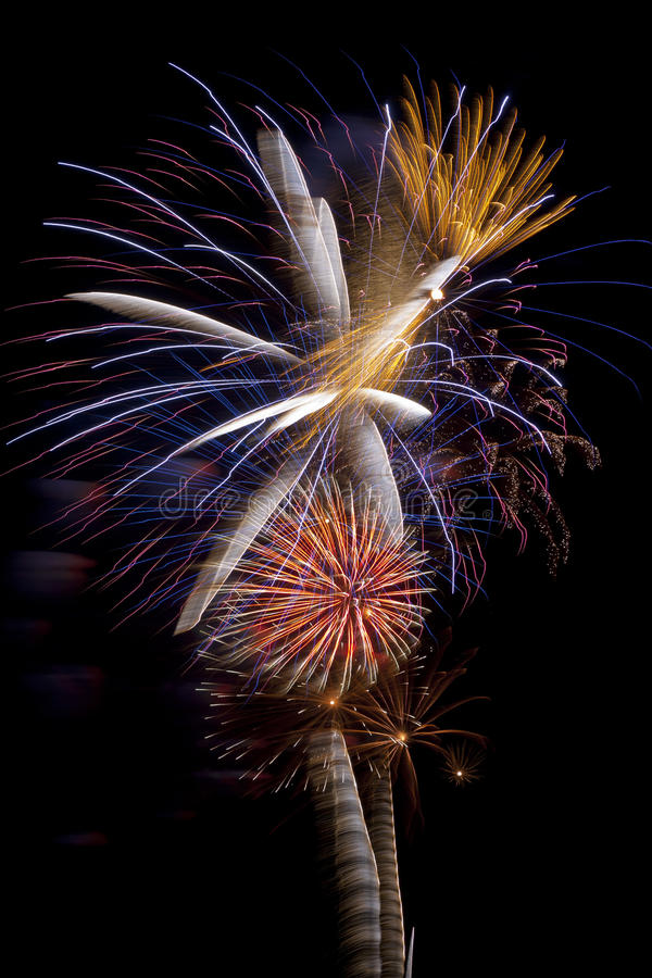 Wow Fireworks. Beautiful fireworks display in bright colors over night sky royalty free stock photo