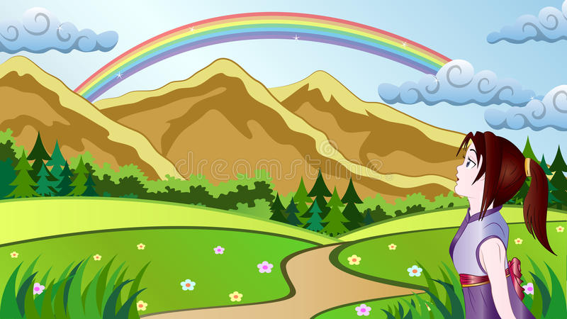 Wow Girl. Vector Illustration of a girl surprised to see a rainbow over mountains stock illustration