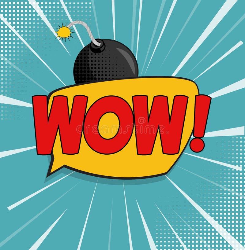 Wow-Hintergrund mit Sprache-Blase und Bombe im Knall Art Style Auch im corel abgehobenen Betrag vektor abbildung