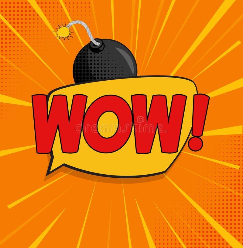 Wow-Hintergrund mit Sprache-Blase und Bombe im Knall Art Style Auch im corel abgehobenen Betrag lizenzfreie abbildung