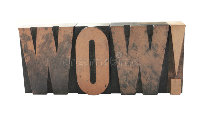 Download 'wow' in old wood type stock photo. Image of word, white - 2952696