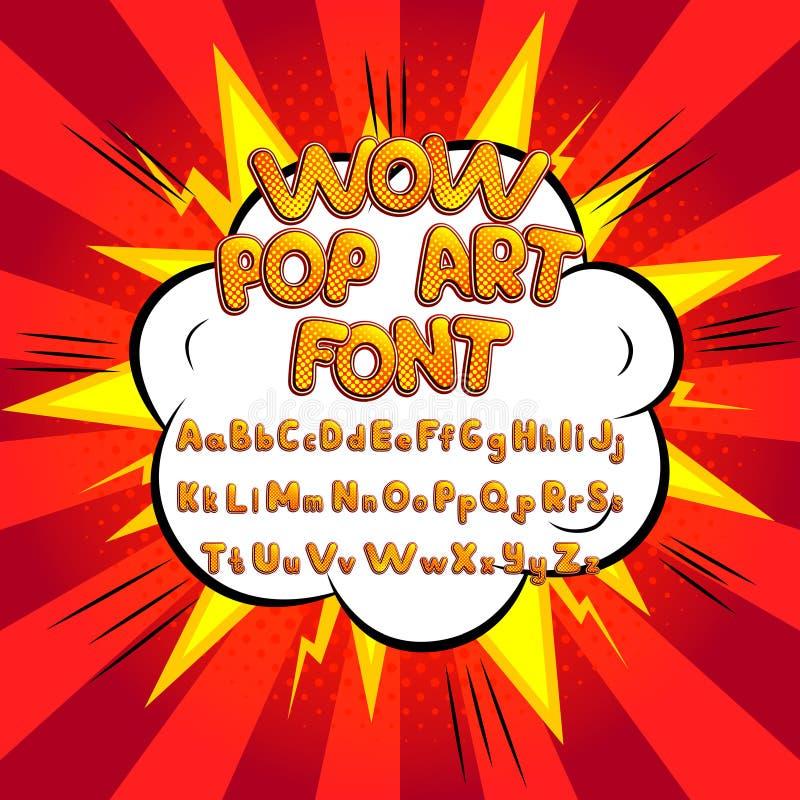Wow pop art comic font vector illustration. Decorative color alphabet with bomb explosive royalty free illustration