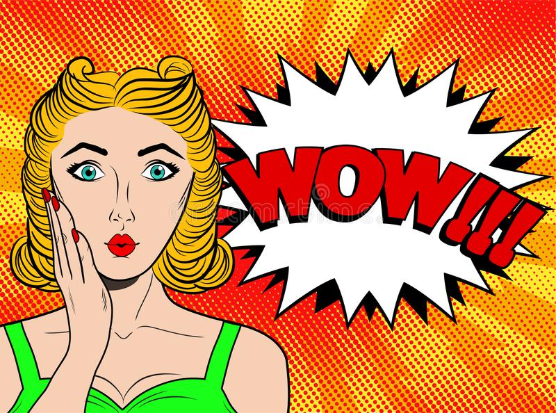 Wow pop art female face. surprised young woman with blond h vector illustration