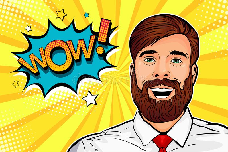 Wow pop art male hipster face. Surprised man with beard and open mouth Wow speech bubble. Pop art vector illustration