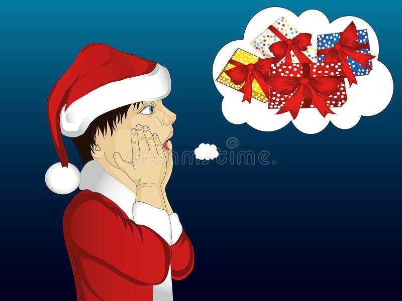 wow Profil boyin Santa Claus-Kostüm sehr überrascht Vektor lizenzfreie abbildung