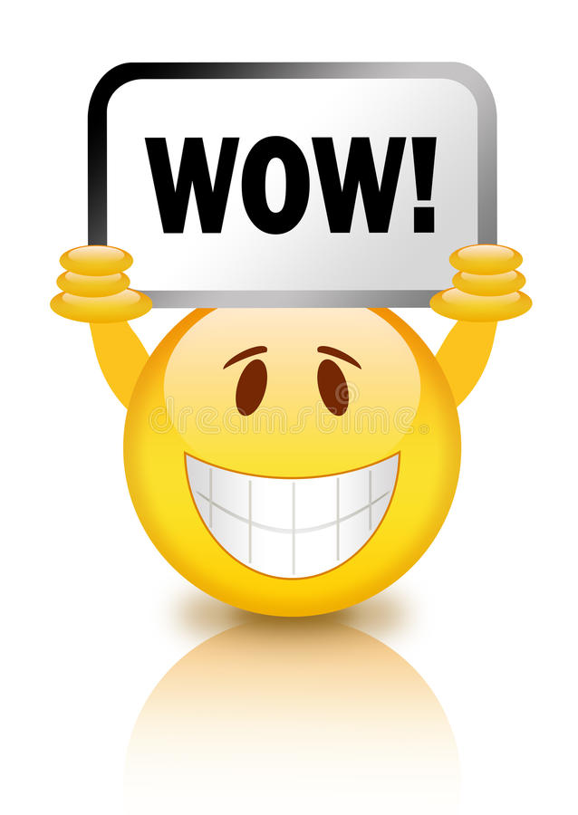 Wow sign. Smiley face with wow sign stock illustration