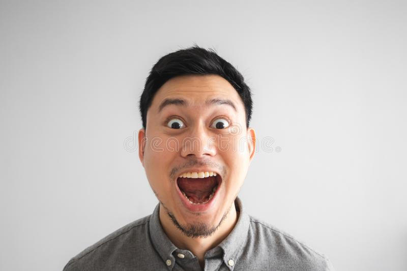 Wow and surprised face of funny good looking man stock photos