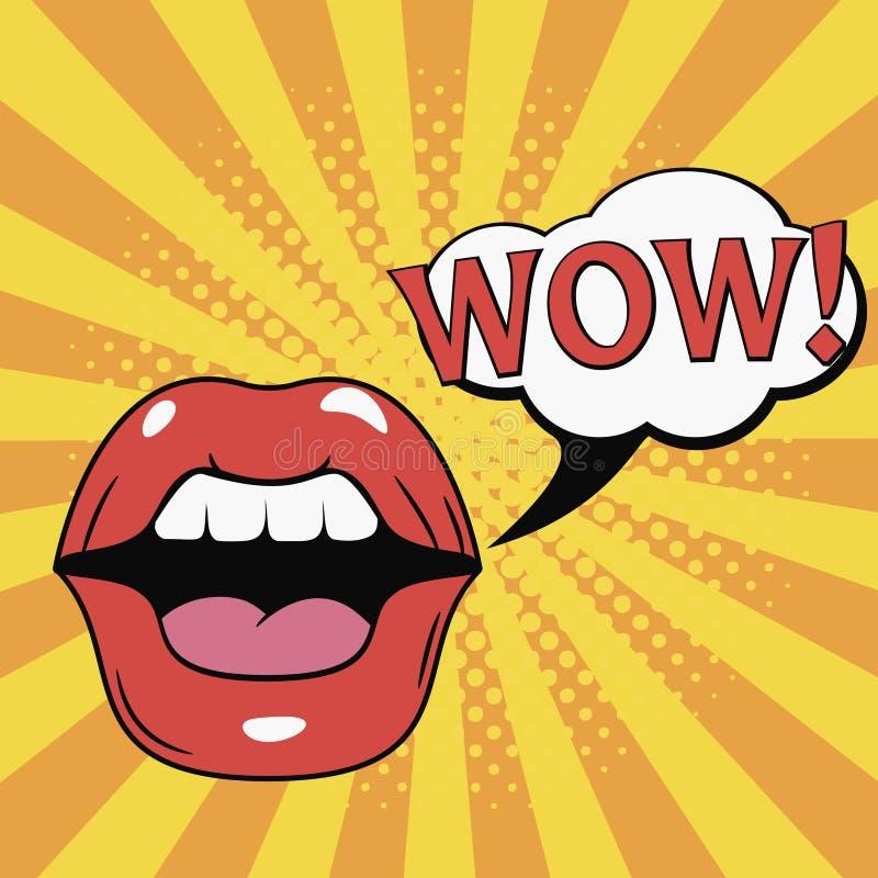 wow usta Żeńskie wargi z mowa bąblem Komiczki ilustracyjne w wystrzał sztuki stylu wektor royalty ilustracja