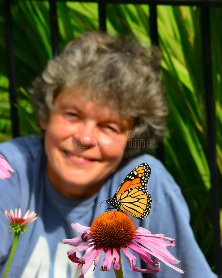 WOW watching monarch butterfly. Woman admiring monarch butterfly sitting on cone flower stock photo