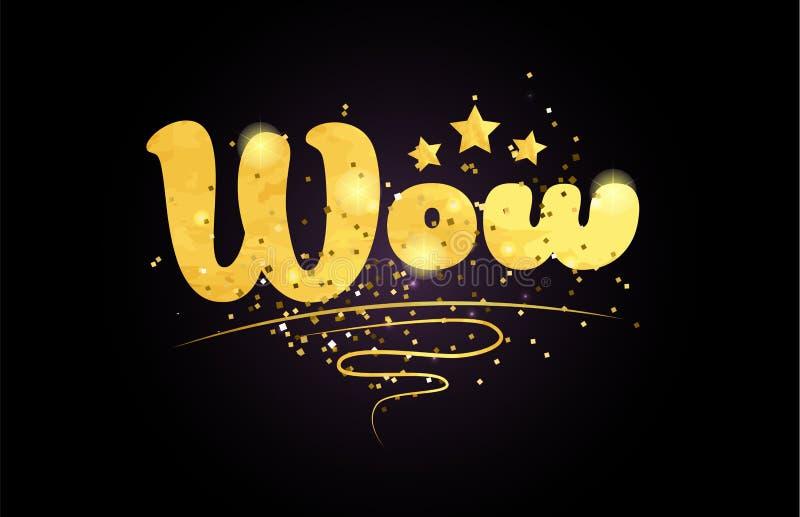 wow Worttext-Logoikone des Sternes goldene Farb stock abbildung