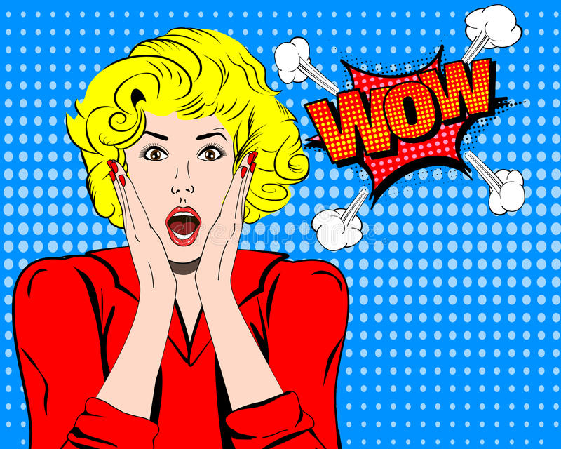 Wow. Wow face. Wow expression. Surprised woman with open mouth vector. Pop art wonder woman. Wow emotion. Wow Comic stock illustration
