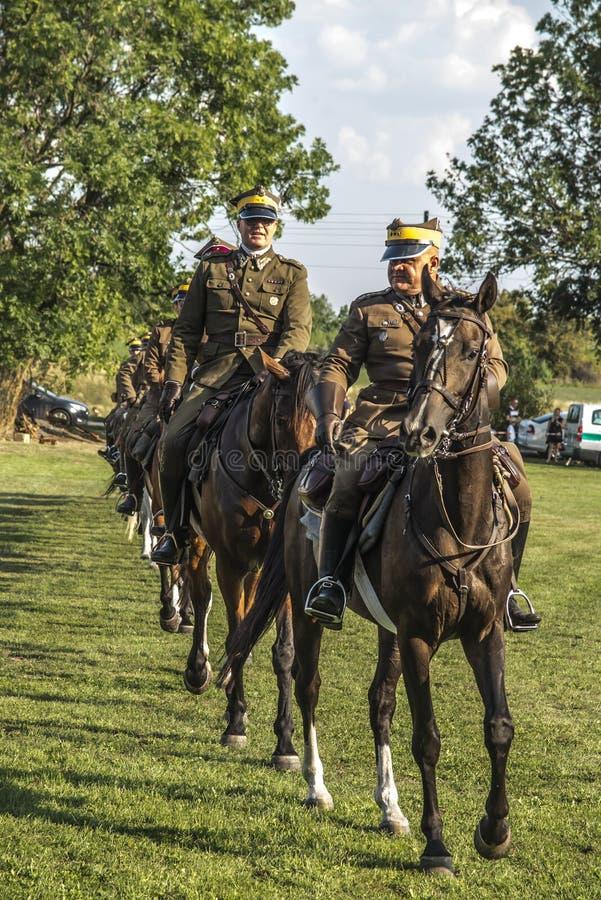 Wozniki, Poland, 1 September 2019: Horse Rally along the Battle Trail of the 3rd Silesian Uhlans Regiment. Presentation of lancers in Wozniki, Poland royalty free stock image
