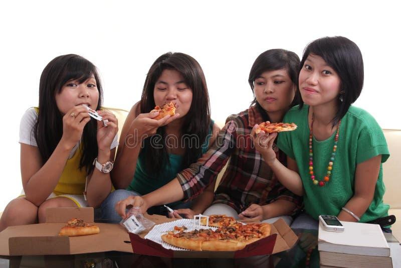 wpólnie łasowanie pizza obraz royalty free