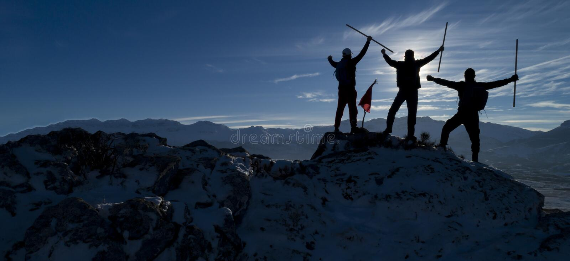 Wpólnie, pomyślna alpinista grupa zdjęcia stock