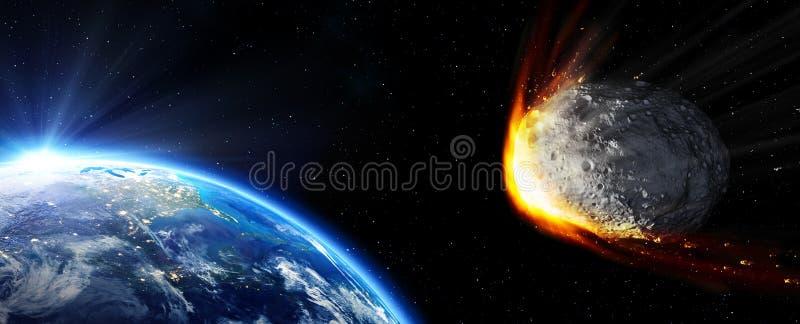 Wpływ ziemia - meteor ja ilustracja wektor