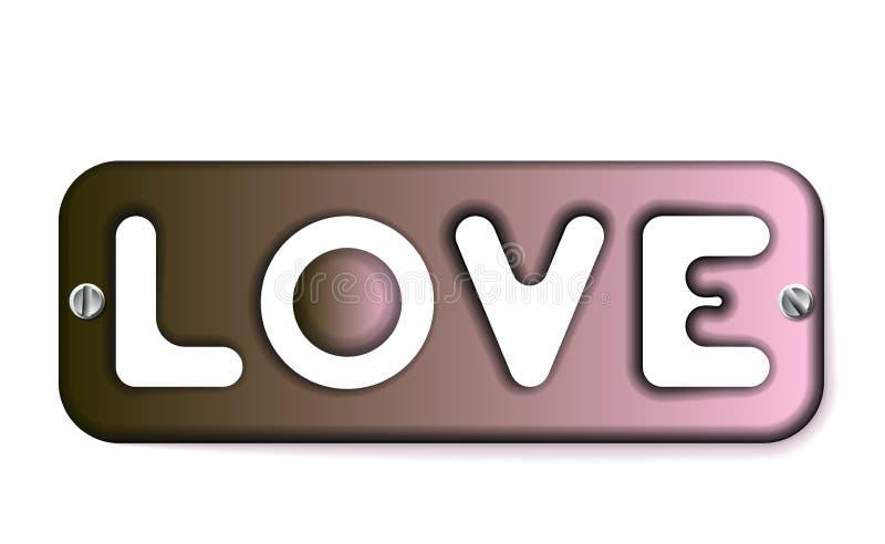 Wpisowa miłość na metalu talerzu z śruby ikoną Miedziany symbol walentynek dnia znak, emblemat Styl dla grafiki i sieci projekta, ilustracji