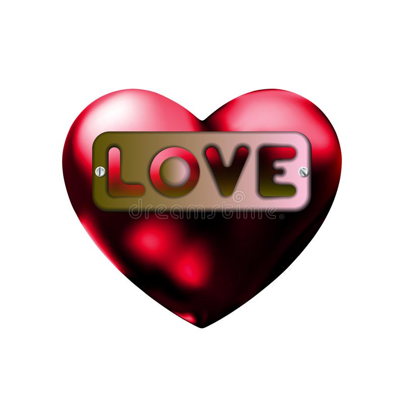 Wpisowa miłość w sercu, półkowa ikona Symbol walentynek dnia znak, emblemat Projektuje dla grafiki i sieci projekta, metal etykie royalty ilustracja