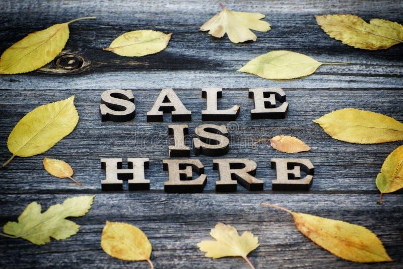 Wpisowa sprzedaż jest tutaj, drewniany tło, rama żółci liście zdjęcie royalty free