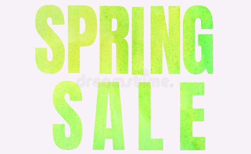 Wpisowa wiosny sprzedaż w zieleni na białym tle obrazy royalty free