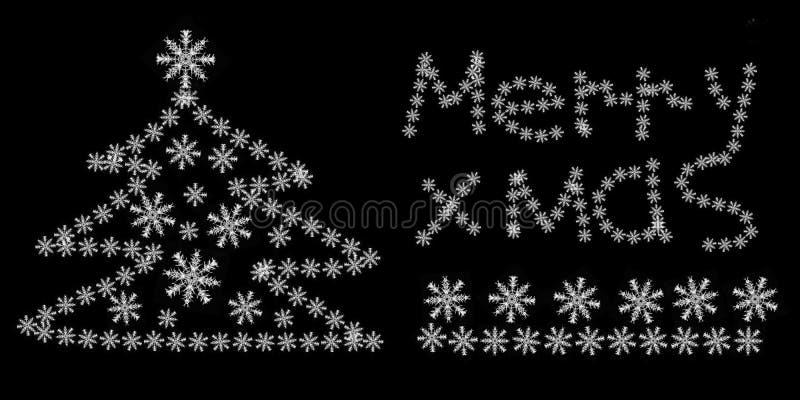 Wpisowego wesoło choinki płatek śniegu czerni tła śnieżna wakacyjna atmosfera ilustracji