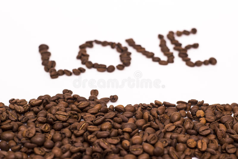 Wpisowej miłości kawowa fasola obrazy royalty free