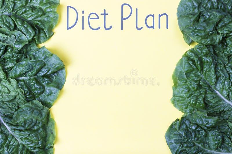 Wpisowy dieta plan na żółtego prześcieradła i zieleni kawałkach na widok zdjęcia royalty free