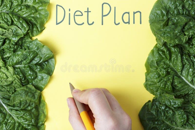 Wpisowy dieta plan na żółtego prześcieradła i zieleni kawałkach na widok zdjęcia stock