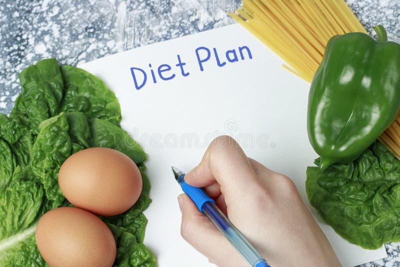 Wpisowy dieta plan na bielu szkotowym i zdrowym jedzeniu, pisze ręce na widok fotografia stock