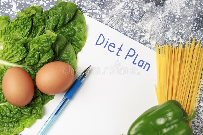 Wpisowy dieta plan na bielu szkotowym i zdrowym jedzeniu na widok obrazy royalty free