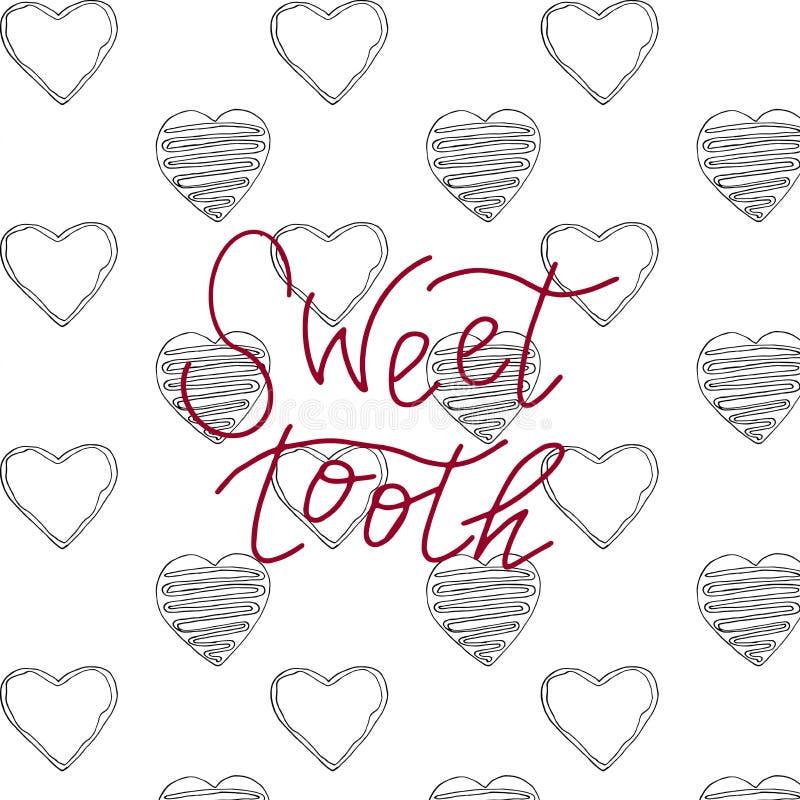Wpisowy słodki ząb na tle torty ilustracja wektor