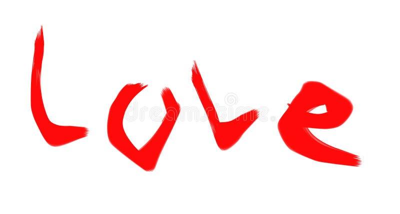 Wpisowy słowo «miłość « Czerwoni dekoracyjni listy ilustracja wektor