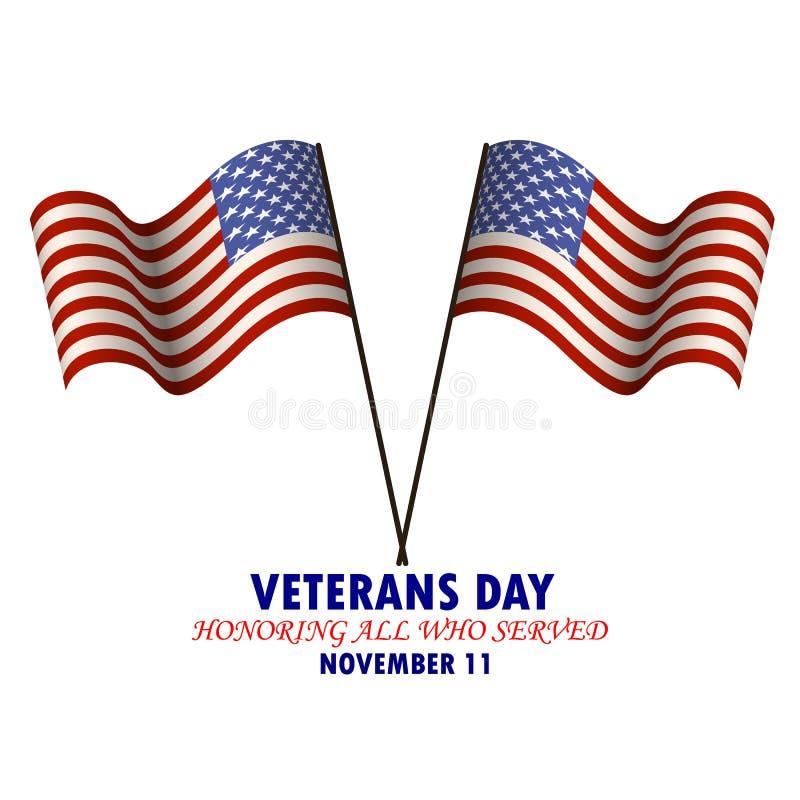 Wpisowy weterana dzień Honorujący wszystko które słuzyć z wizerunkiem flaga państowowa usa ilustracja wektor