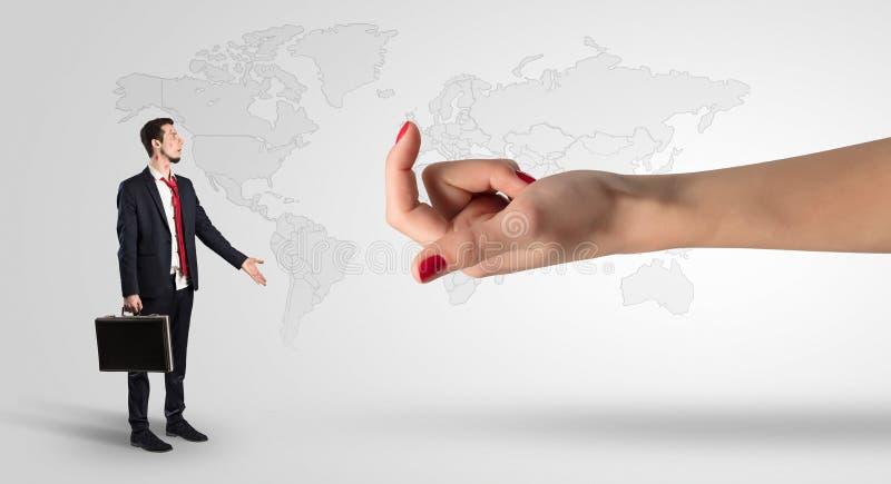 Wprawiać w zakłopotanie i całujący biznesmen z biznesowym pojęciem ilustracja wektor