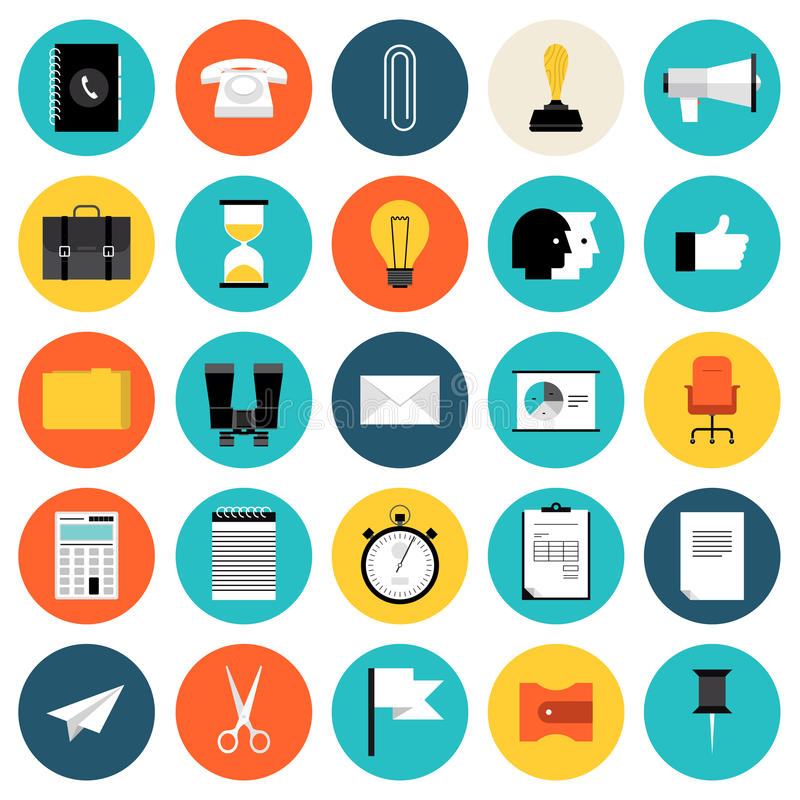 Wprowadzać na rynek i biznesowe płaskie ikony ustawiający ilustracji