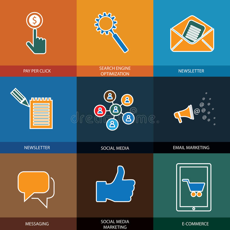 Wprowadzać na rynek, ogólnospołeczni środki, seo & handel elektroniczny, - pojęcie wektoru ikony ilustracja wektor
