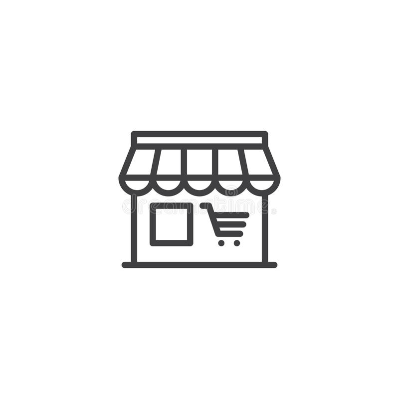 Wprowadzać na rynek, robi zakupy, kreskową ikonę, konturu wektoru znak, liniowy piktogram odizolowywający na bielu ilustracji