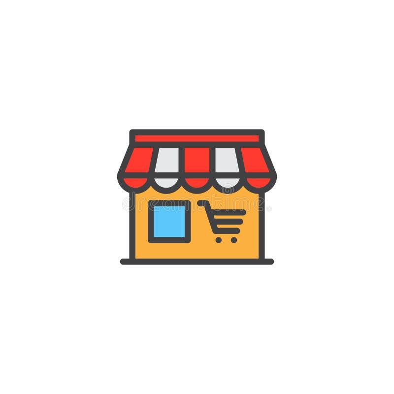 Wprowadzać na rynek, sklep kreskowa ikona, wypełniający konturu wektoru znak, liniowy kolorowy piktogram odizolowywający na bielu royalty ilustracja