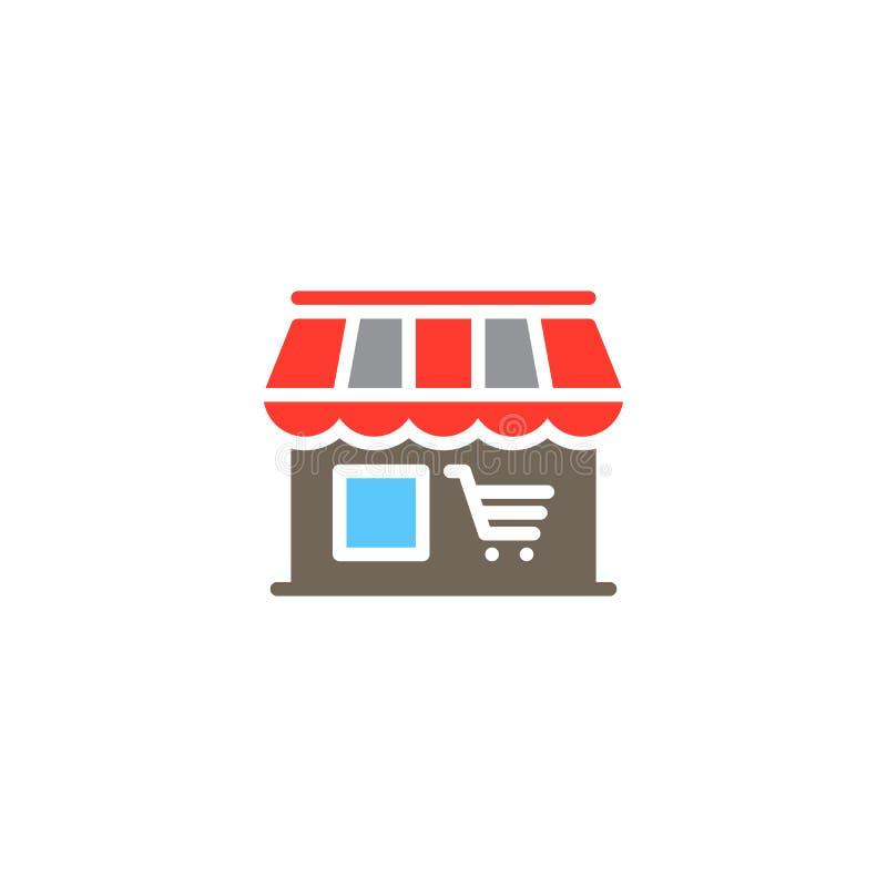 Wprowadzać na rynek, sklepowy ikona wektor, wypełniający mieszkanie znak, stały kolorowy piktogram odizolowywający na bielu ilustracji