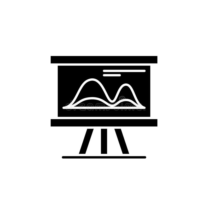 Wprowadzać na rynek wykazuje tendencję czarną ikonę, wektoru znak na odosobnionym tle Wprowadzać na rynek trendu pojęcia symbol,  ilustracji