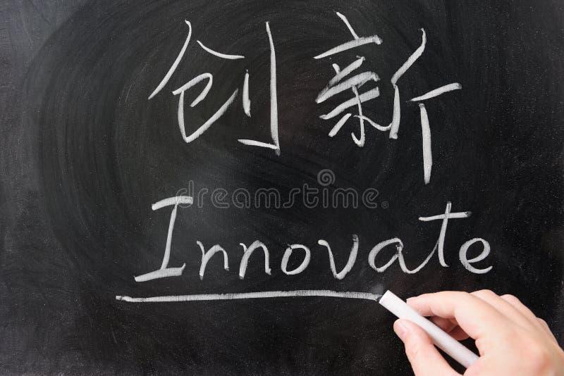 Wprowadza innowacje słowo w chińczyku zdjęcie stock