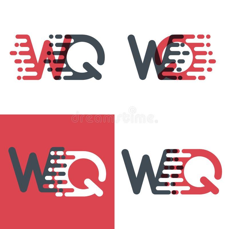 WQ marque avec des lettres le logo avec le rose de vitesse d'accent et gris-foncé illustration libre de droits