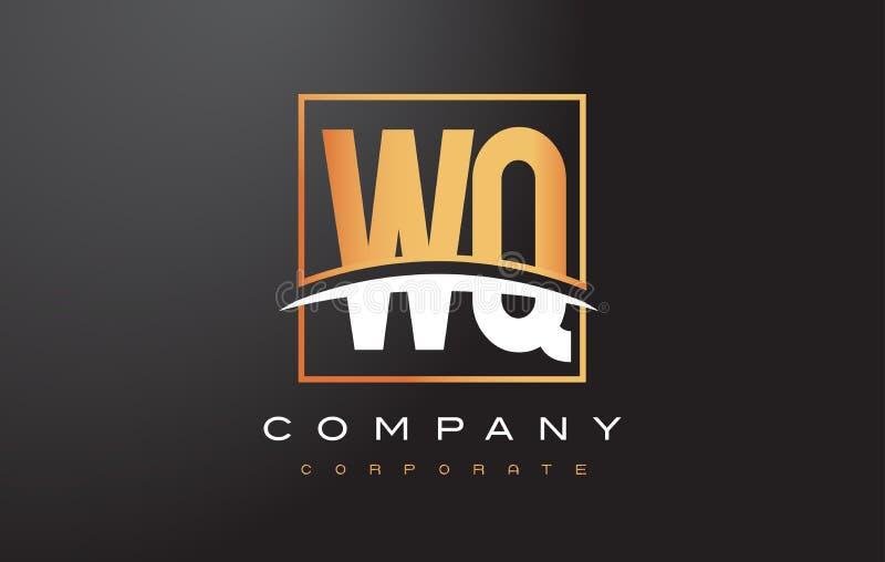 WQ W Q Golden Letter Logo Design with Gold Square and Swoosh. WQ W Q Golden Letter Logo Design with Swoosh and Rectangle Square Box Vector Design stock illustration
