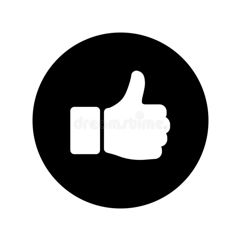 Wręcza kciuk w górę ikony na czarnym okręgu symbolu Tak royalty ilustracja