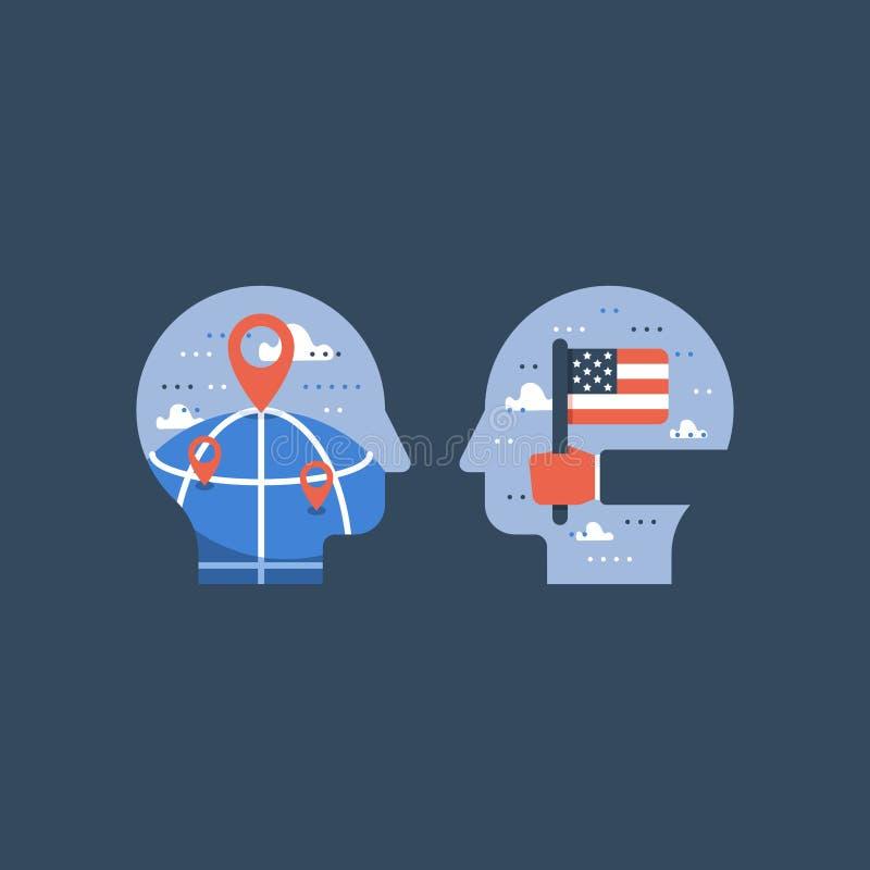 Wręcza mienie flaga amerykańską, uczy się angielszczyzny, program edukacyjny, międzynarodowa uczeń wymiana royalty ilustracja