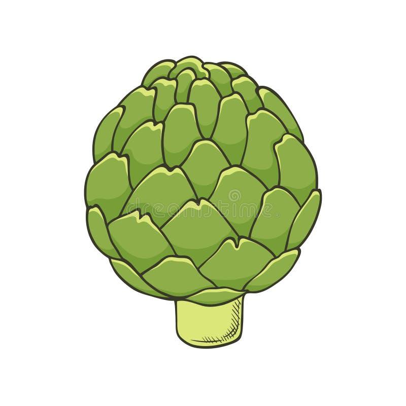 Wręcza patroszoną ikonę zielony świeży karczoch - szablon dla plakatów, broszurki, sztandary, restauracyjny menu royalty ilustracja